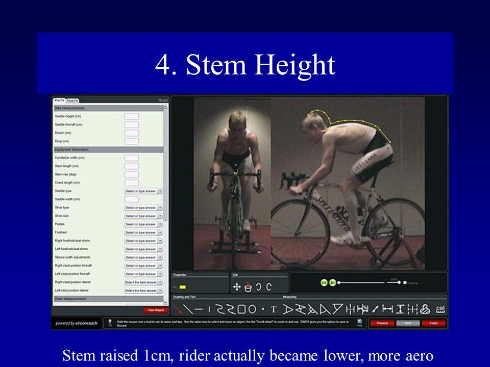 4. Stem Height Stem raised 1cm, rider actually became lower, more aero