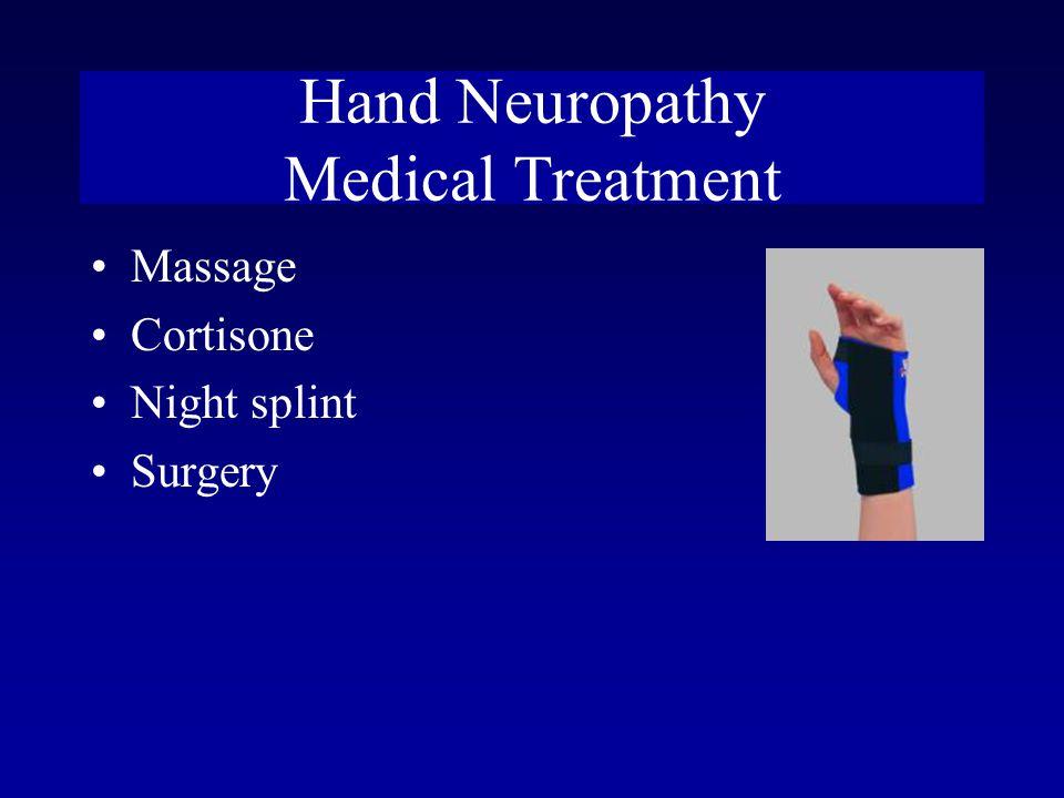 Hand Neuropathy Medical Treatment Massage Cortisone Night splint Surgery