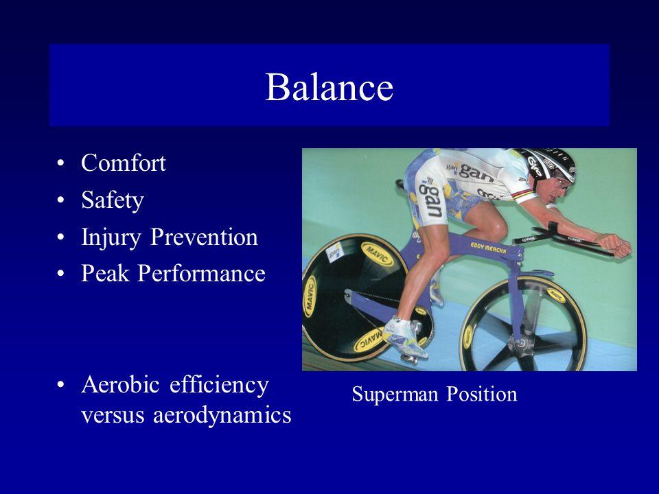 Balance Comfort Safety Injury Prevention Peak Performance Aerobic efficiency versus aerodynamics Superman Position