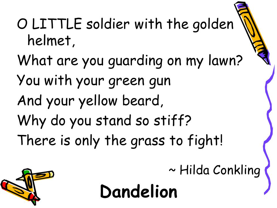 O LITTLE soldier with the golden helmet, What are you guarding on my lawn? You with your green gun And your yellow beard, Why do you stand so stiff? T