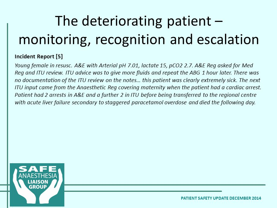 The deteriorating patient – monitoring, recognition and escalation PATIENT SAFETY UPDATE DECEMBER 2014 Incident Report [5] Young female in resusc.