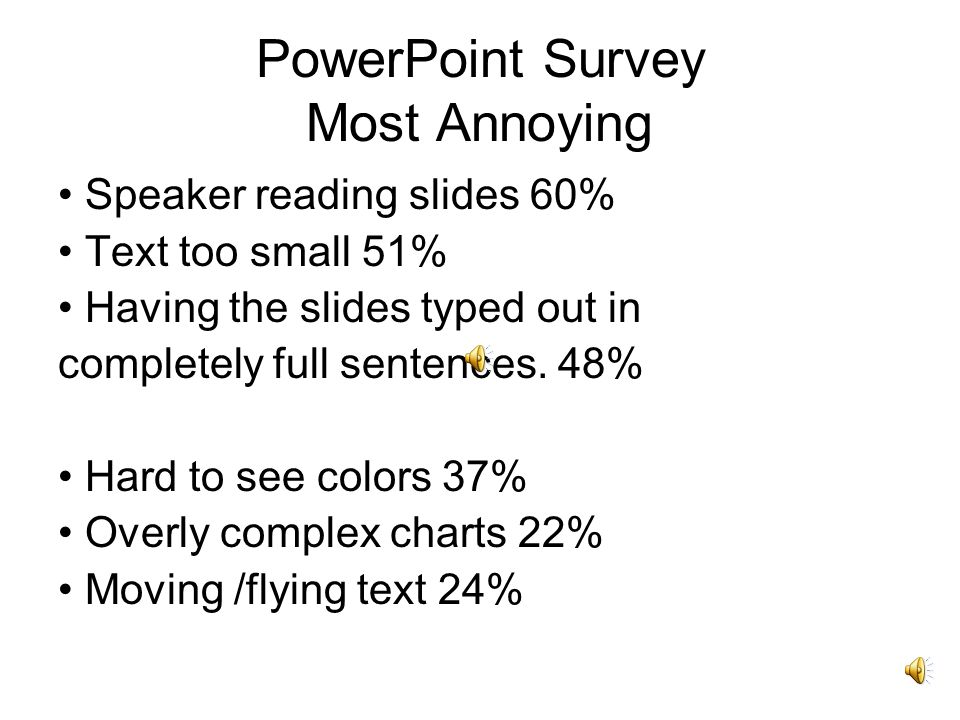 PowerPoint Survey Most Annoying Speaker reading slides 60% Text too small 51% Having the slides typed out in completely full sentences.