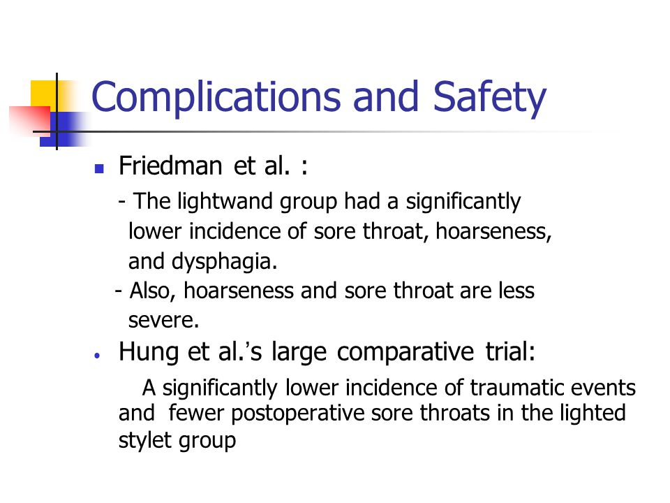 Complications and Safety Friedman et al.