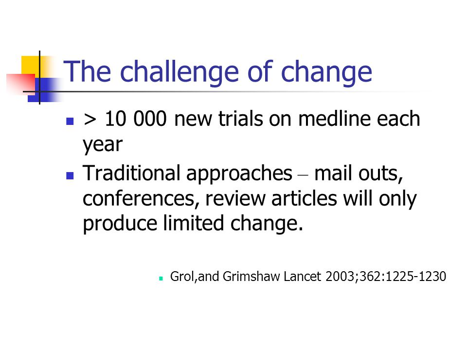 The challenge of change > 10 000 new trials on medline each year Traditional approaches – mail outs, conferences, review articles will only produce limited change.
