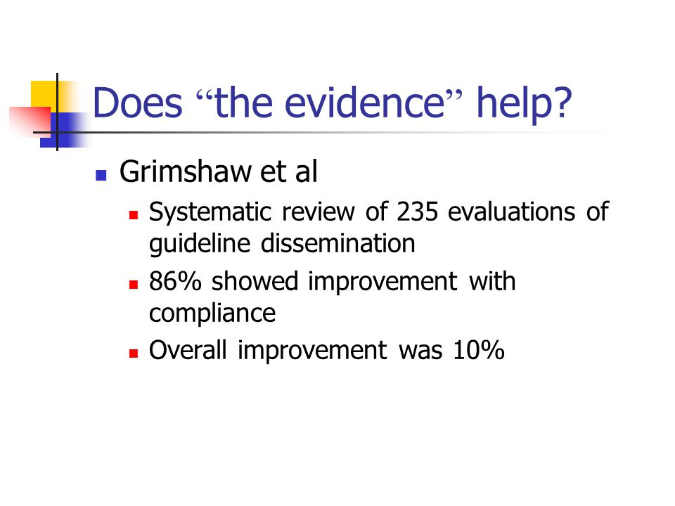 """Does """" the evidence """" help? Grimshaw et al Systematic review of 235 evaluations of guideline dissemination 86% showed improvement with compliance Over"""