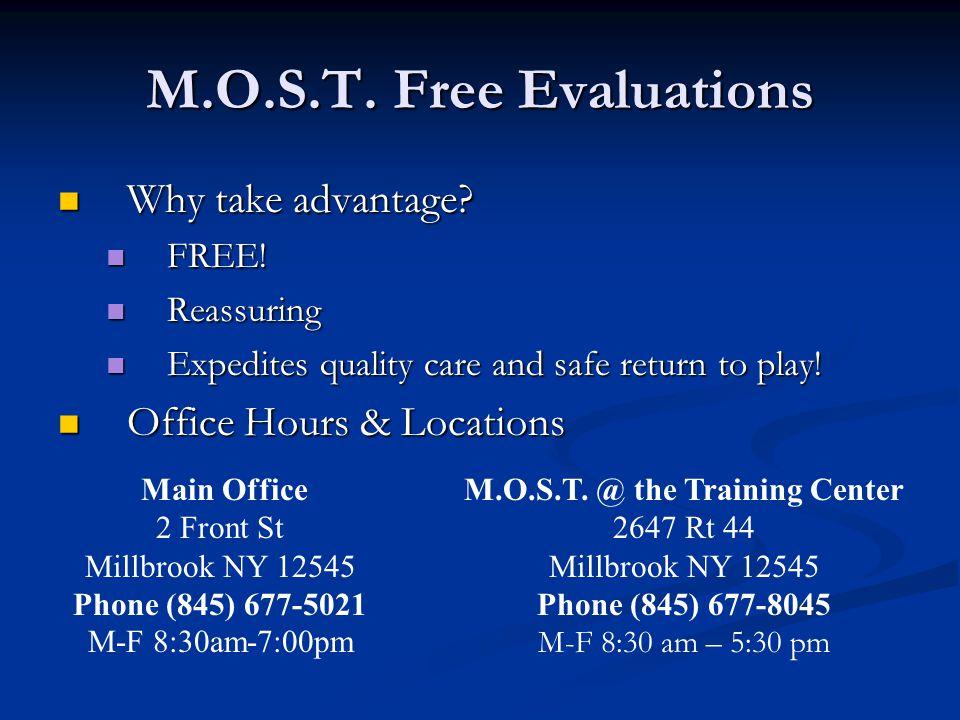 M.O.S.T. Free Evaluations Why take advantage. Why take advantage.