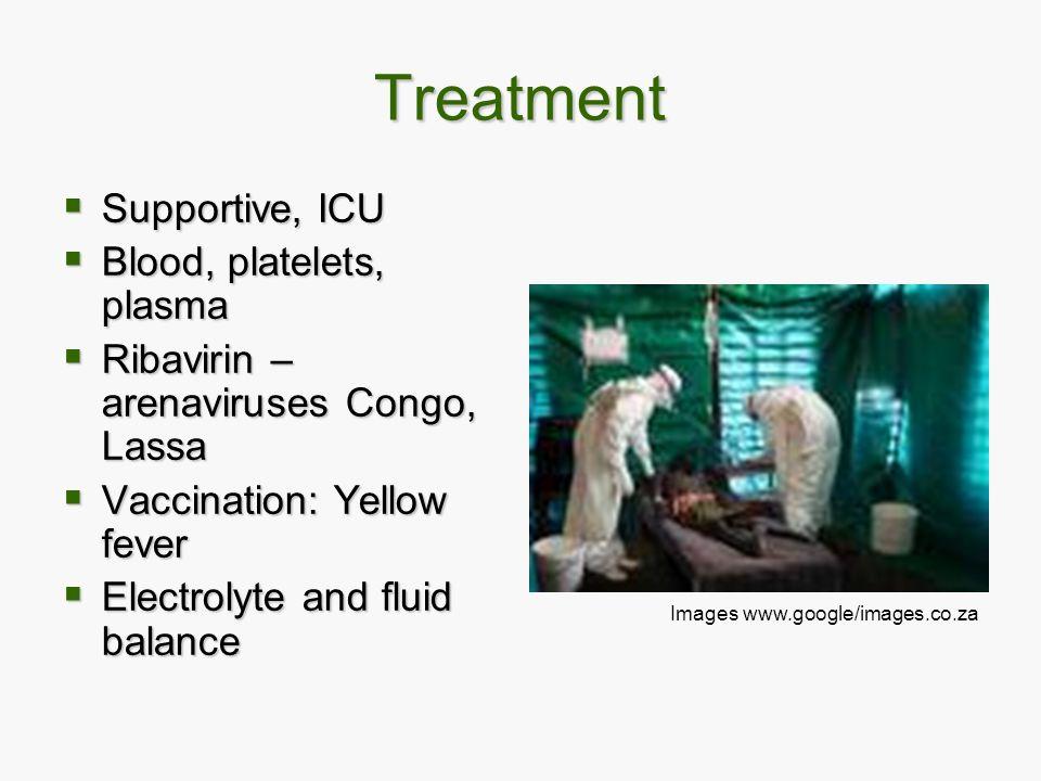 Treatment  Supportive, ICU  Blood, platelets, plasma  Ribavirin – arenaviruses Congo, Lassa  Vaccination: Yellow fever  Electrolyte and fluid bal