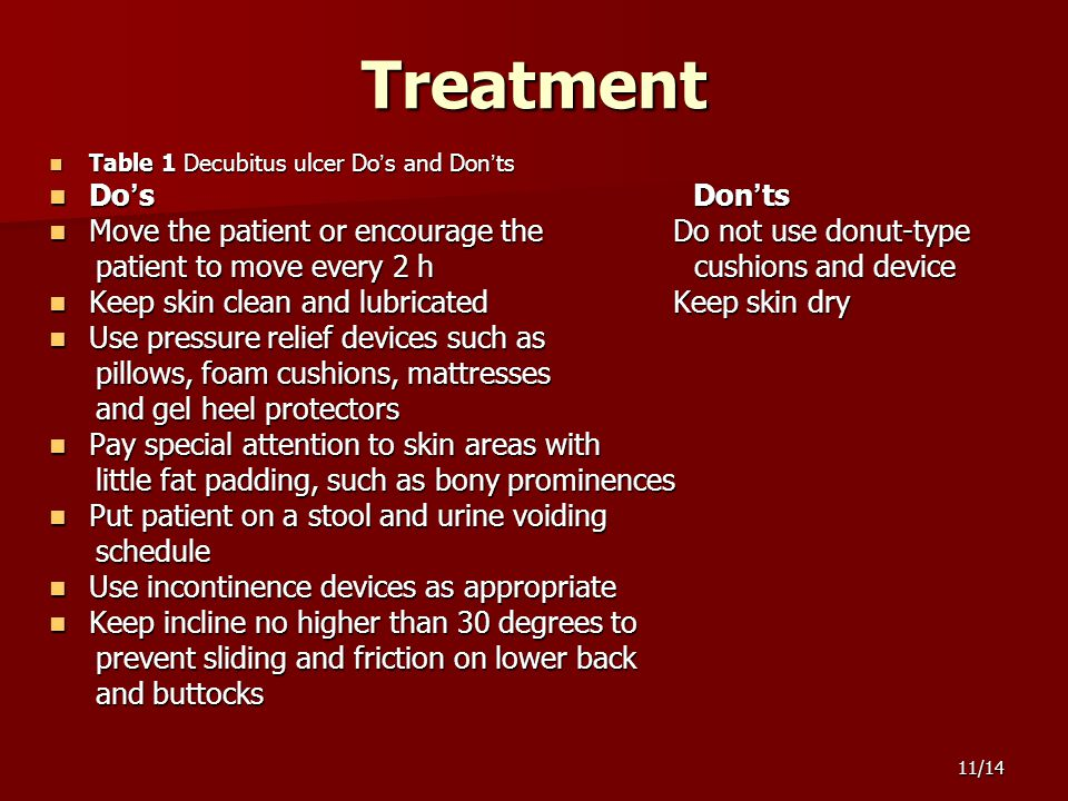 11/14Treatment Table 1 Decubitus ulcer Do ' s and Don ' ts Table 1 Decubitus ulcer Do ' s and Don ' ts Do ' s Don ' ts Do ' s Don ' ts Move the patient or encourage the Do not use donut-type Move the patient or encourage the Do not use donut-type patient to move every 2 h cushions and device patient to move every 2 h cushions and device Keep skin clean and lubricated Keep skin dry Keep skin clean and lubricated Keep skin dry Use pressure relief devices such as Use pressure relief devices such as pillows, foam cushions, mattresses pillows, foam cushions, mattresses and gel heel protectors and gel heel protectors Pay special attention to skin areas with Pay special attention to skin areas with little fat padding, such as bony prominences little fat padding, such as bony prominences Put patient on a stool and urine voiding Put patient on a stool and urine voiding schedule schedule Use incontinence devices as appropriate Use incontinence devices as appropriate Keep incline no higher than 30 degrees to Keep incline no higher than 30 degrees to prevent sliding and friction on lower back prevent sliding and friction on lower back and buttocks and buttocks