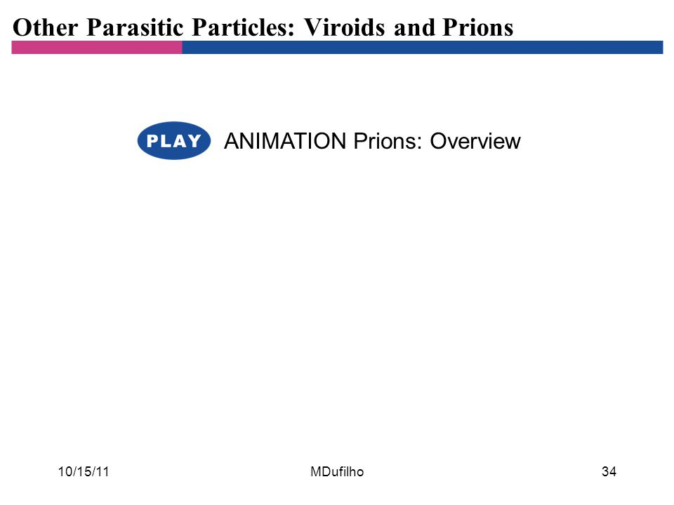 Other Parasitic Particles: Viroids and Prions ANIMATION Prions: Overview 10/15/11MDufilho34