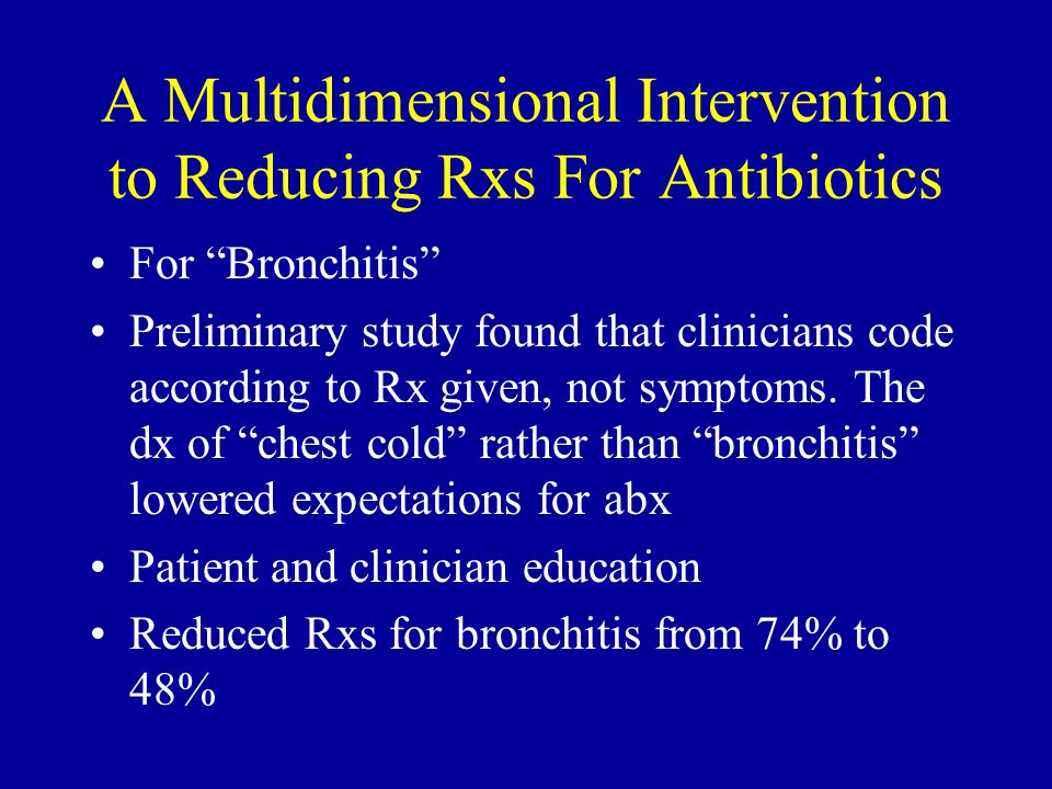 A Multidimensional Intervention to Reducing Rxs For Antibiotics For Bronchitis Preliminary study found that clinicians code according to Rx given, not symptoms.