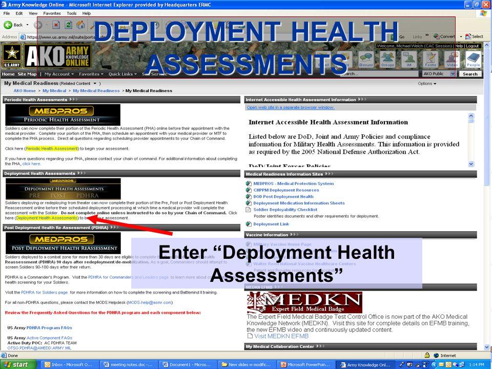 03.06 25 DEPLOYMENT HEALTH ASSESSMENTS Enter Deployment Health Assessments