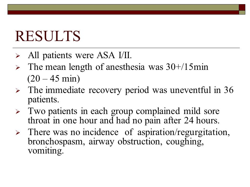 RESULTS  All patients were ASA I/II.