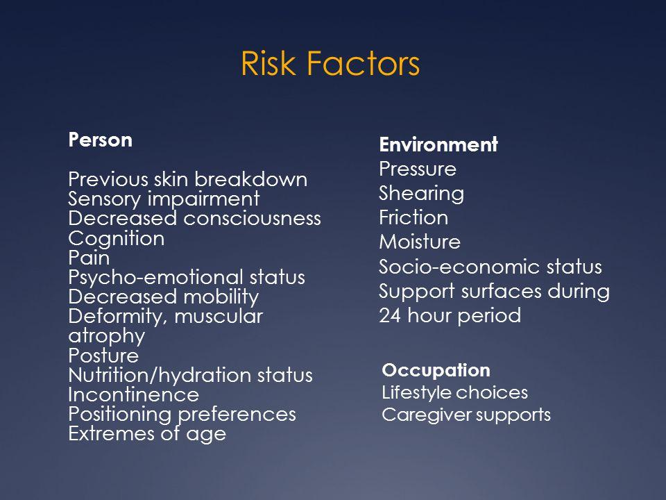 Risk Factors Person Previous skin breakdown Sensory impairment Decreased consciousness Cognition Pain Psycho-emotional status Decreased mobility Defor