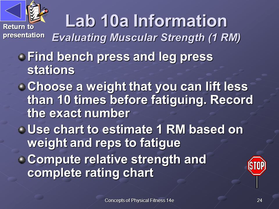 24Concepts of Physical Fitness 14e Lab 10a Information Evaluating Muscular Strength (1 RM) Find bench press and leg press stations Choose a weight that you can lift less than 10 times before fatiguing.