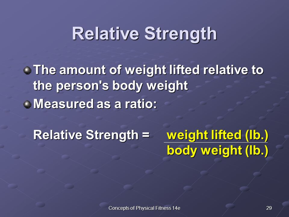 29Concepts of Physical Fitness 14e The amount of weight lifted relative to the person s body weight Measured as a ratio: Relative Strength = weight lifted (lb.) body weight (lb.) Relative Strength