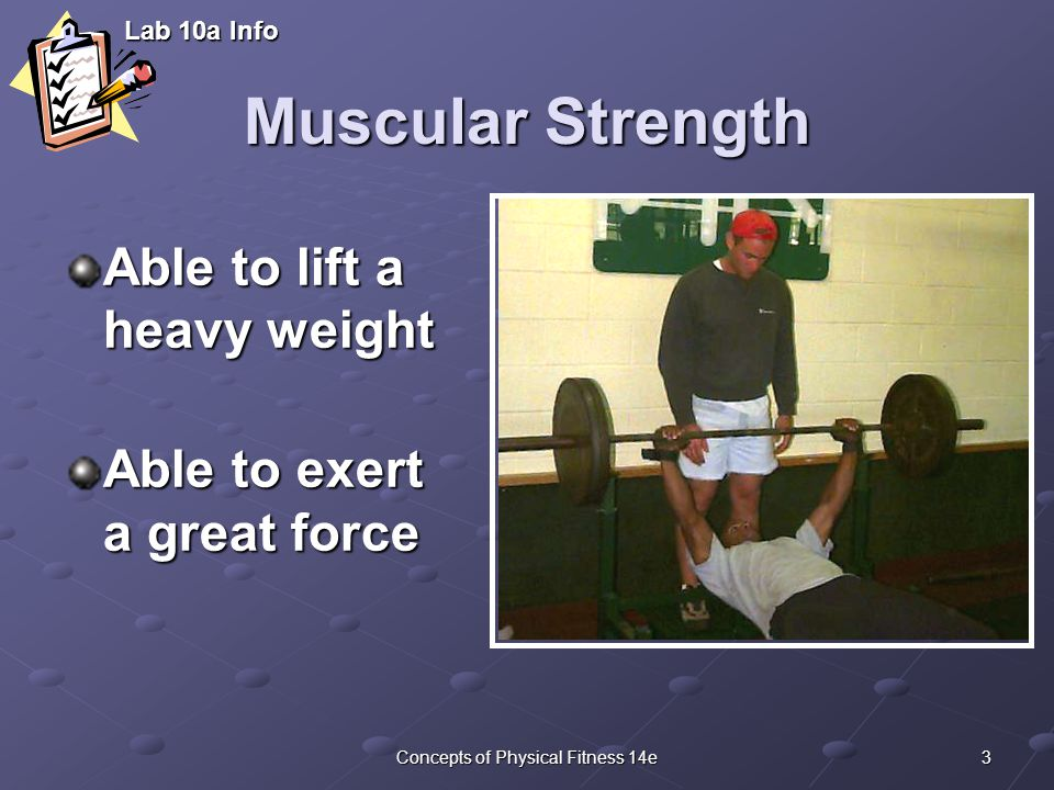 3Concepts of Physical Fitness 14e Muscular Strength Able to lift a heavy weight Able to exert a great force Lab 10a Info