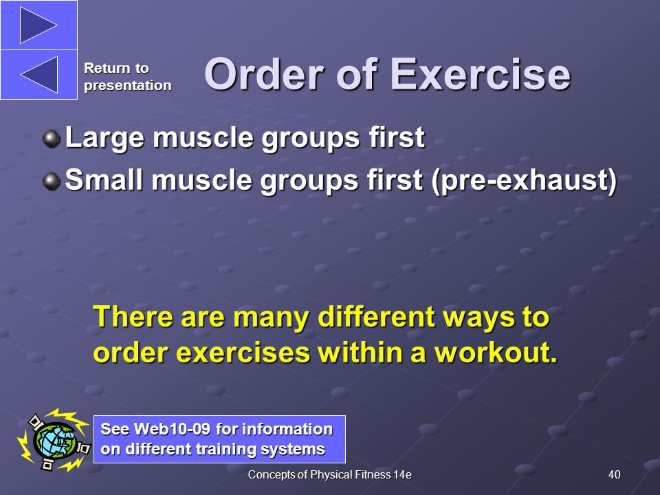 40Concepts of Physical Fitness 14e Order of Exercise Large muscle groups first Small muscle groups first (pre-exhaust) There are many different ways to order exercises within a workout.