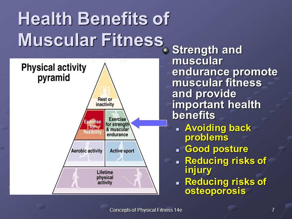 7Concepts of Physical Fitness 14e Health Benefits of Muscular Fitness Strength and muscular endurance promote muscular fitness and provide important health benefits Avoiding back problems Avoiding back problems Good posture Good posture Reducing risks of injury Reducing risks of injury Reducing risks of osteoporosis Reducing risks of osteoporosis