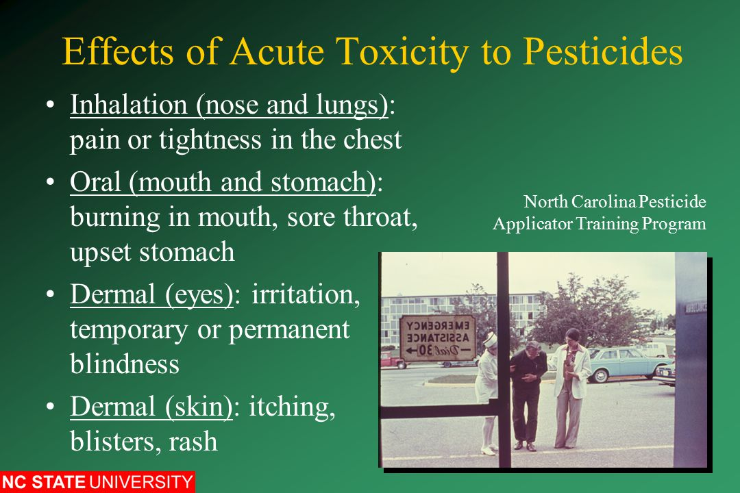 Effects of Acute Toxicity to Pesticides Inhalation (nose and lungs): pain or tightness in the chest Oral (mouth and stomach): burning in mouth, sore throat, upset stomach Dermal (eyes): irritation, temporary or permanent blindness Dermal (skin): itching, blisters, rash North Carolina Pesticide Applicator Training Program