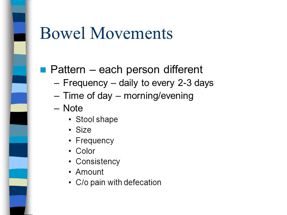 Bowel Movements Pattern – each person different –Frequency – daily to every 2-3 days –Time of day – morning/evening –Note Stool shape Size Frequency C