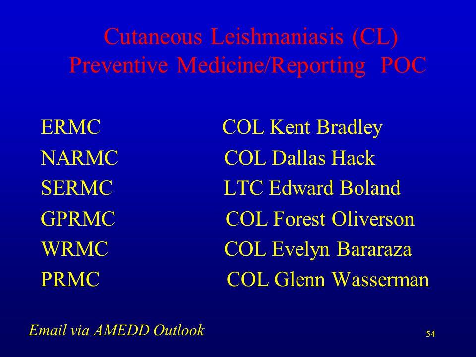 54 Cutaneous Leishmaniasis (CL) Preventive Medicine/Reporting POC ERMC COL Kent Bradley NARMC COL Dallas Hack SERMC LTC Edward Boland GPRMC COL Forest