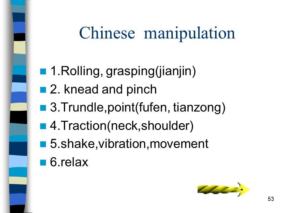 53 Chinese manipulation 1.Rolling, grasping(jianjin) 2.