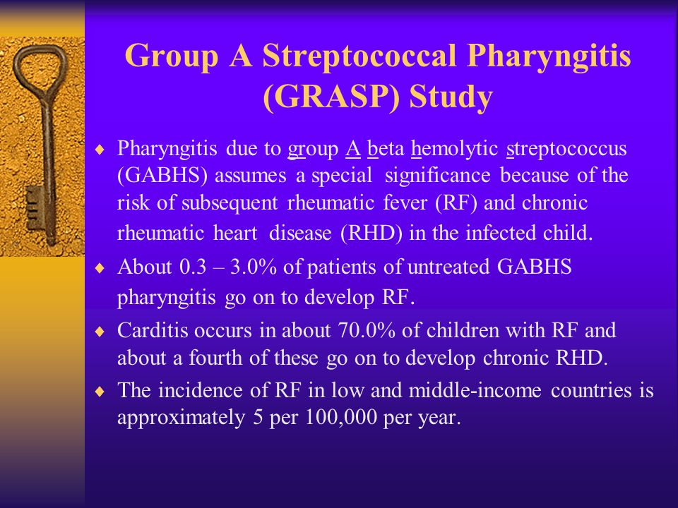 Group A Streptococcal Pharyngitis (GRASP) Study  Pharyngitis due to group A beta hemolytic streptococcus (GABHS) assumes a special significance because of the risk of subsequent rheumatic fever (RF) and chronic rheumatic heart disease (RHD) in the infected child.