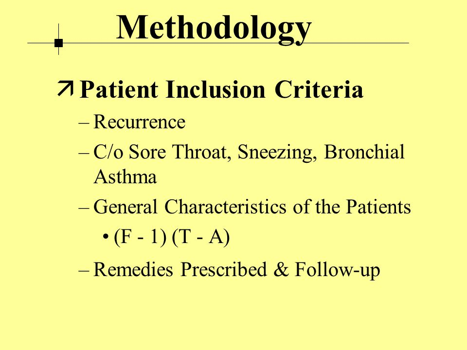 Methodology ä Patient Inclusion Criteria –Recurrence –C/o Sore Throat, Sneezing, Bronchial Asthma –General Characteristics of the Patients (F - 1) (T - A) –Remedies Prescribed & Follow-up