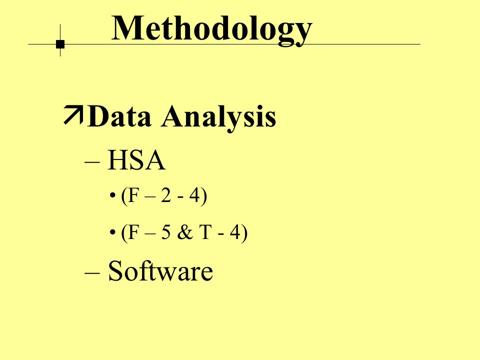Methodology ä Data Analysis – HSA (F – 2 - 4) (F – 5 & T - 4) – Software