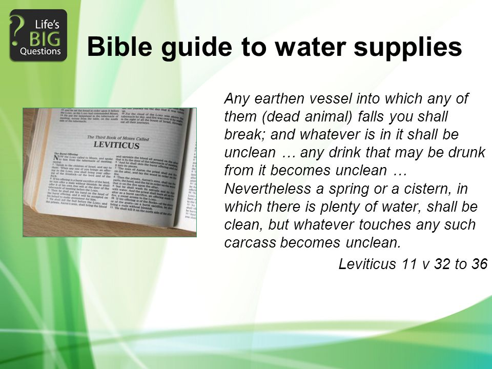 Bible guide to water supplies Any earthen vessel into which any of them (dead animal) falls you shall break; and whatever is in it shall be unclean … any drink that may be drunk from it becomes unclean … Nevertheless a spring or a cistern, in which there is plenty of water, shall be clean, but whatever touches any such carcass becomes unclean.