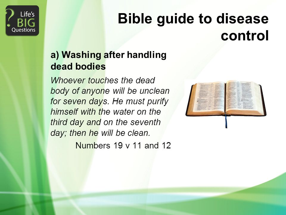 Bible guide to disease control Whoever touches the dead body of anyone will be unclean for seven days.