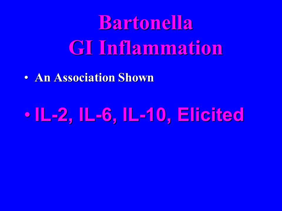 Bartonella GI Inflammation An Association ShownAn Association Shown IL-2, IL-6, IL-10, ElicitedIL-2, IL-6, IL-10, Elicited