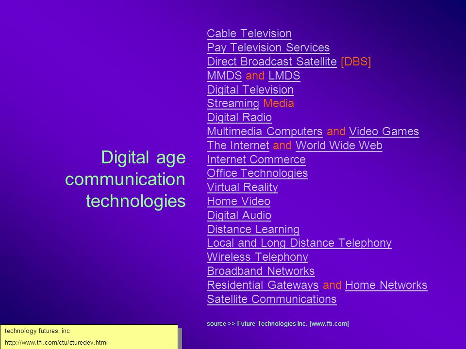 Emerging technologies and technology convergences Web resources compilation For WENT2001