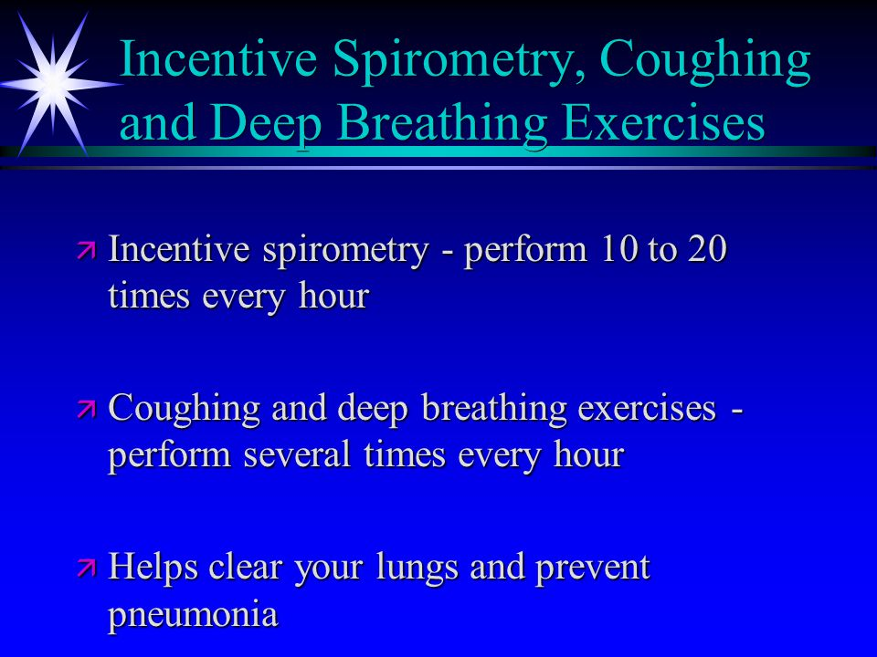 Incentive Spirometry, Coughing and Deep Breathing Exercises ä Incentive spirometry - perform 10 to 20 times every hour ä Coughing and deep breathing exercises - perform several times every hour ä Helps clear your lungs and prevent pneumonia