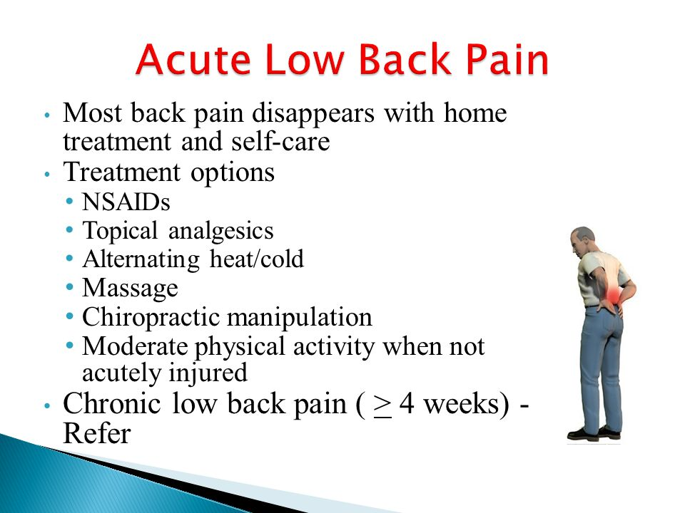 Most back pain disappears with home treatment and self-care Treatment options NSAIDs Topical analgesics Alternating heat/cold Massage Chiropractic manipulation Moderate physical activity when not acutely injured Chronic low back pain ( > 4 weeks) - Refer