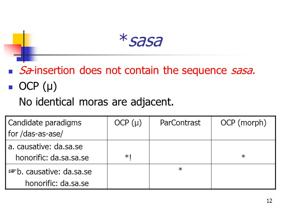 12 *sasa Sa-insertion does not contain the sequence sasa.