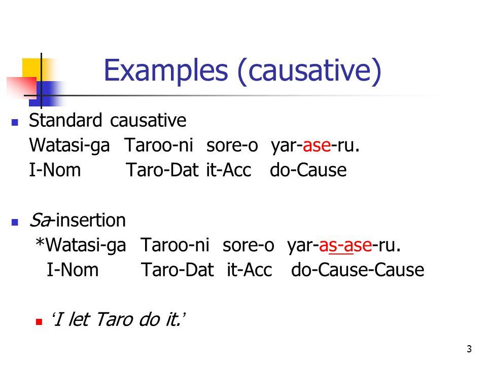 3 Examples (causative) Standard causative Watasi-ga Taroo-ni sore-o yar-ase-ru.