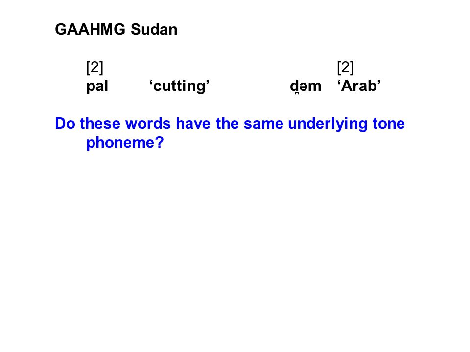 GAAHMG Sudan [2][2] pal'cutting'd ̪ əm'Arab' Do these words have the same underlying tone phoneme?