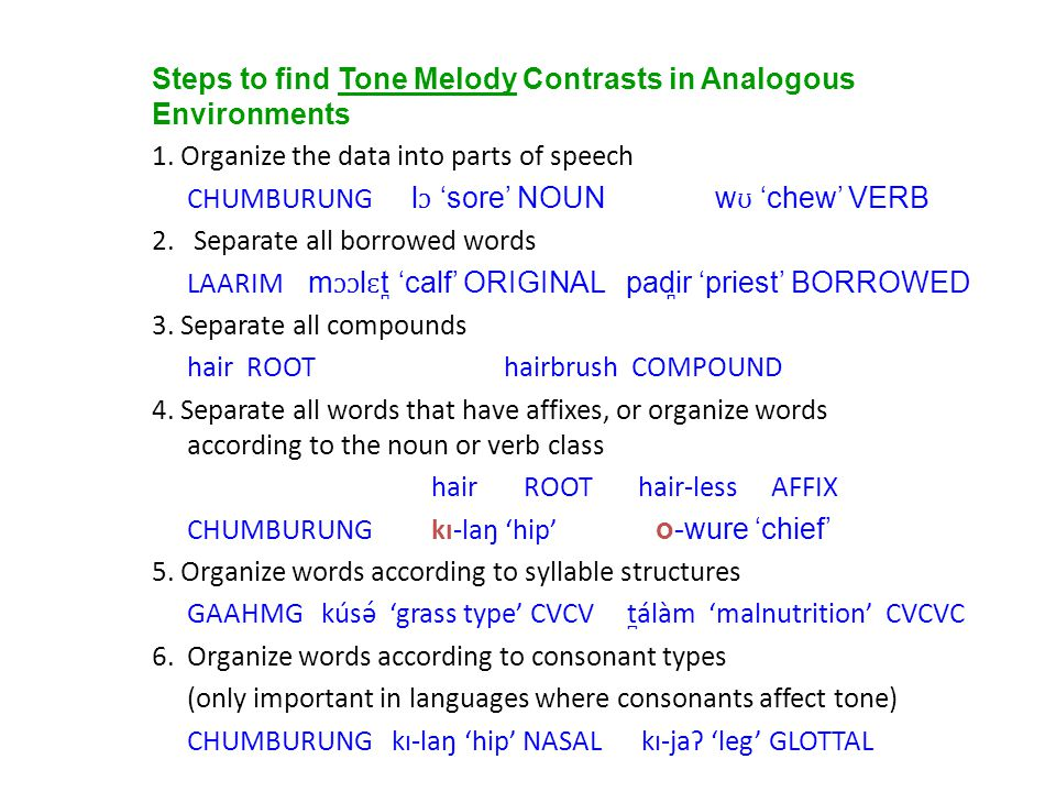 Steps to find Tone Melody Contrasts in Analogous Environments 1. Organize the data into parts of speech CHUMBURUNG l ɔ 'sore' NOUNw ʊ 'chew' VERB 2. S