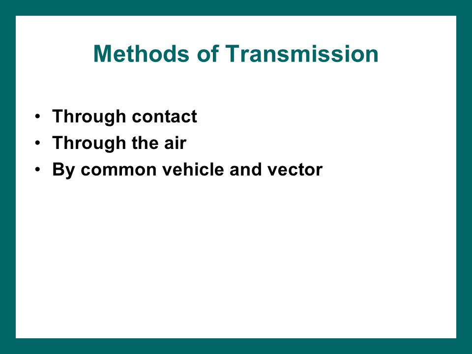 Methods of Transmission Through contact Through the air By common vehicle and vector