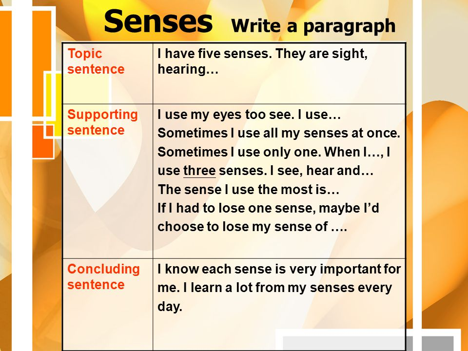 Senses Write a paragraph Topic sentence I have five senses. They are sight, hearing… Supporting sentence I use my eyes too see. I use… Sometimes I use