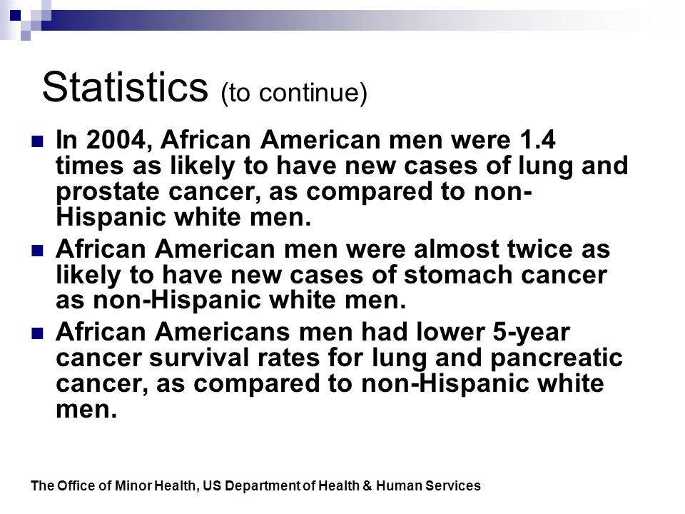 Statistics (to continue) In 2004, African American men were 1.4 times as likely to have new cases of lung and prostate cancer, as compared to non- Hispanic white men.