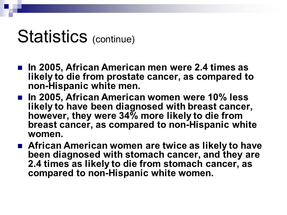 Statistics (continue) In 2005, African American men were 2.4 times as likely to die from prostate cancer, as compared to non-Hispanic white men.