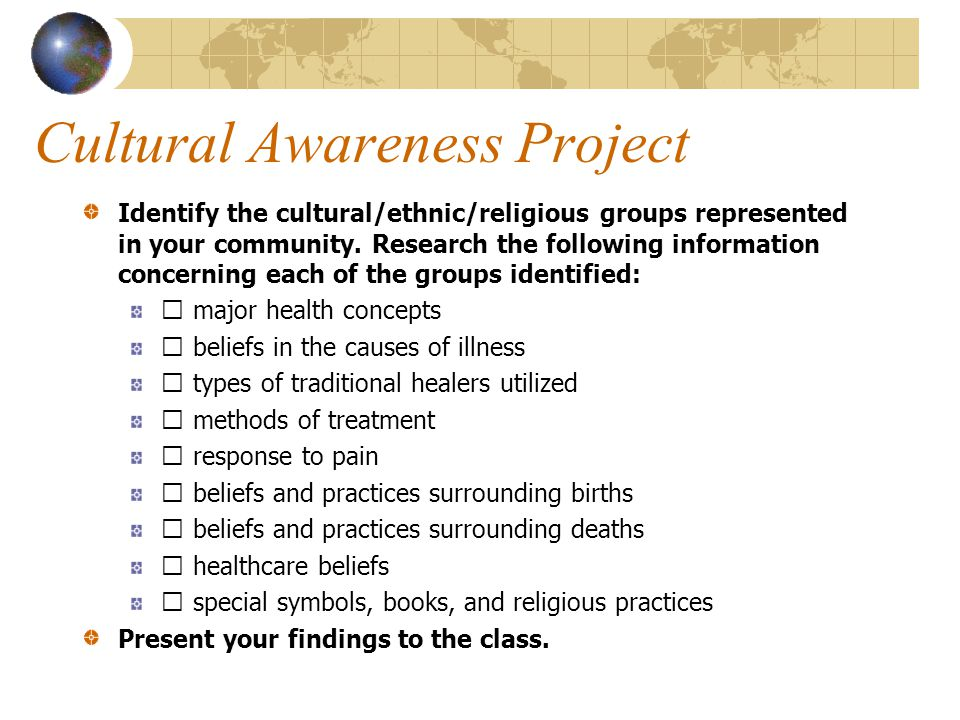 Cultural Awareness Project Identify the cultural/ethnic/religious groups represented in your community. Research the following information concerning