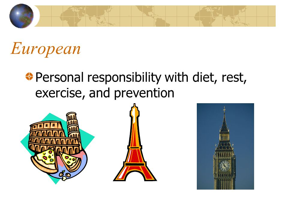 European Personal responsibility with diet, rest, exercise, and prevention