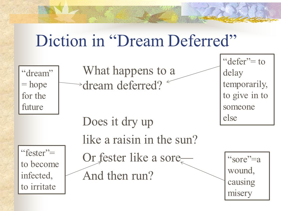 """Diction in """"Dream Deferred"""" What happens to a dream deferred? Does it dry up like a raisin in the sun? Or fester like a sore— And then run? """"dream"""" ="""