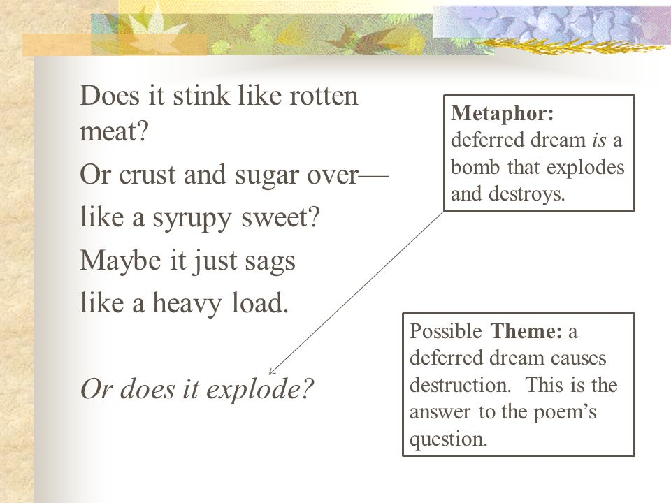 Does it stink like rotten meat? Or crust and sugar over— like a syrupy sweet? Maybe it just sags like a heavy load. Or does it explode? Metaphor: defe
