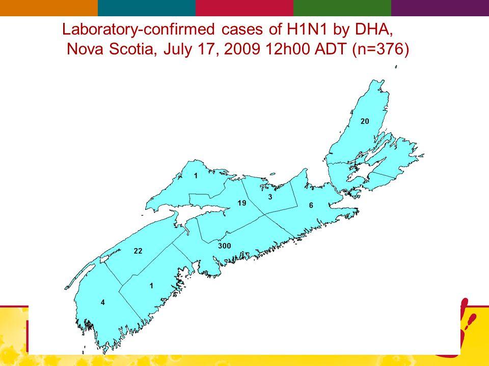 Laboratory-confirmed cases of H1N1 by DHA, Nova Scotia, July 17, 2009 12h00 ADT (n=376)