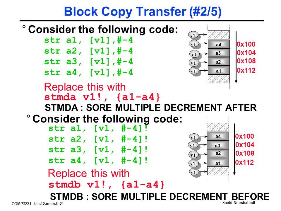 COMP3221 lec-12-mem-II.21 Saeid Nooshabadi Block Copy Transfer (#2/5) °Consider the following code: str a1, [v1],#-4 str a2, [v1],#-4 str a3, [v1],#-4 str a4, [v1],#-4 v1 Replace this with stmda v1!, {a1-a4} STMDA : SORE MULTIPLE DECREMENT AFTER v1 °Consider the following code: str a1, [v1, #-4].
