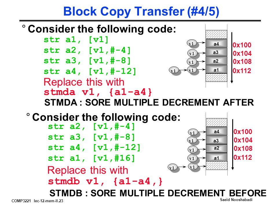 COMP3221 lec-12-mem-II.23 Saeid Nooshabadi Block Copy Transfer (#4/5) °Consider the following code: str a1, [v1] str a2, [v1,#-4] str a3, [v1,#-8] str a4, [v1,#-12] v1 Replace this with stmda v1, {a1-a4} STMDA : SORE MULTIPLE DECREMENT AFTER °Consider the following code: str a2, [v1,#-4] str a3, [v1,#-8] str a4, [v1,#-12] str a1, [v1,#16] Replace this with stmdb v1, {a1-a4,} STMDB : SORE MULTIPLE DECREMENT BEFORE a1 a2 a3 a4 v1 a1 a2 a3 a4 v1 0x100 0x104 0x108 0x112 0x100 0x104 0x108 0x112